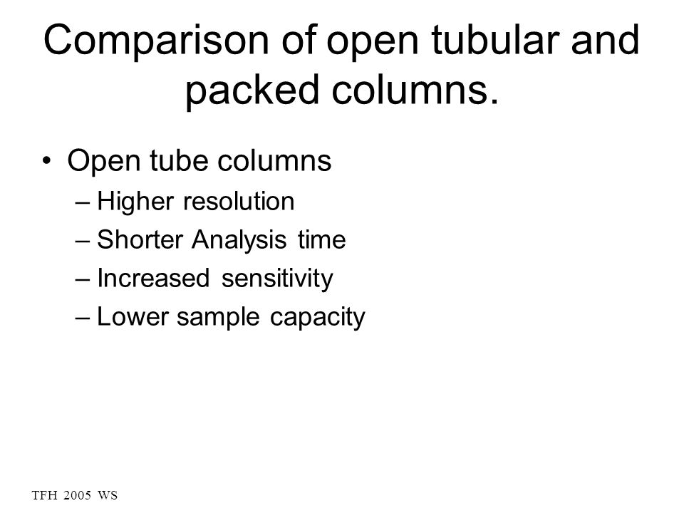 TFH 2005 WS Comparison of open tubular and packed columns.