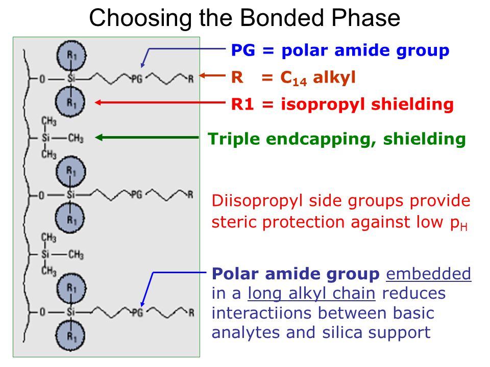 TFH 2005 WS Choosing the Bonded Phase R = C 14 alkyl R1 = isopropyl shielding Diisopropyl side groups provide steric protection against low p H Triple endcapping, shielding PG = polar amide group Polar amide group embedded in a long alkyl chain reduces interactiions between basic analytes and silica support