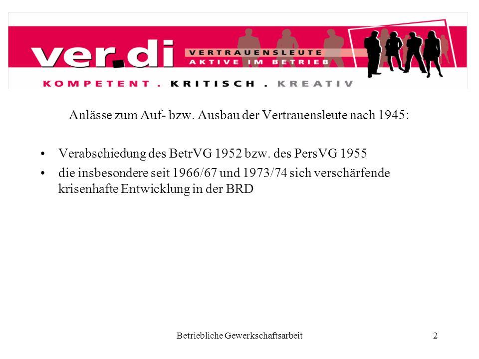Betriebliche Gewerkschaftsarbeit2 Anlässe zum Auf- bzw. Ausbau der Vertrauensleute nach 1945: Verabschiedung des BetrVG 1952 bzw. des PersVG 1955 die