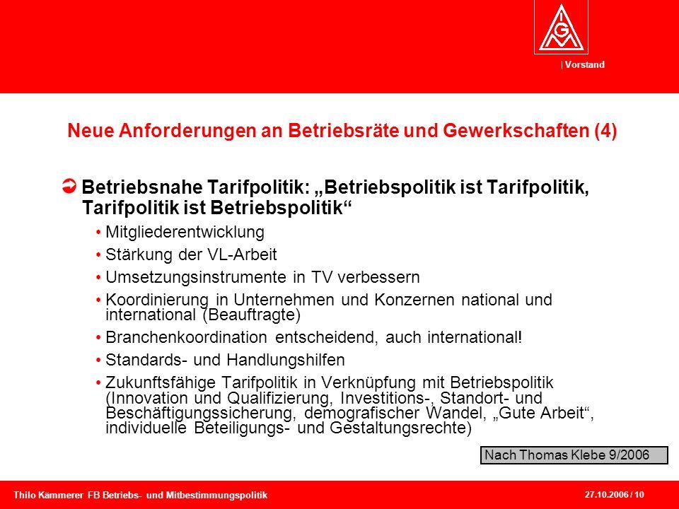 Vorstand 27.10.2006 / 10 Thilo Kämmerer FB Betriebs- und Mitbestimmungspolitik Neue Anforderungen an Betriebsräte und Gewerkschaften (4) Betriebsnahe