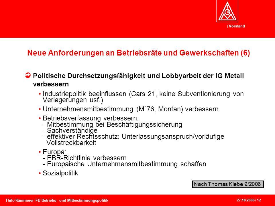 Vorstand 27.10.2006 / 12 Thilo Kämmerer FB Betriebs- und Mitbestimmungspolitik Neue Anforderungen an Betriebsräte und Gewerkschaften (6) Politische Du