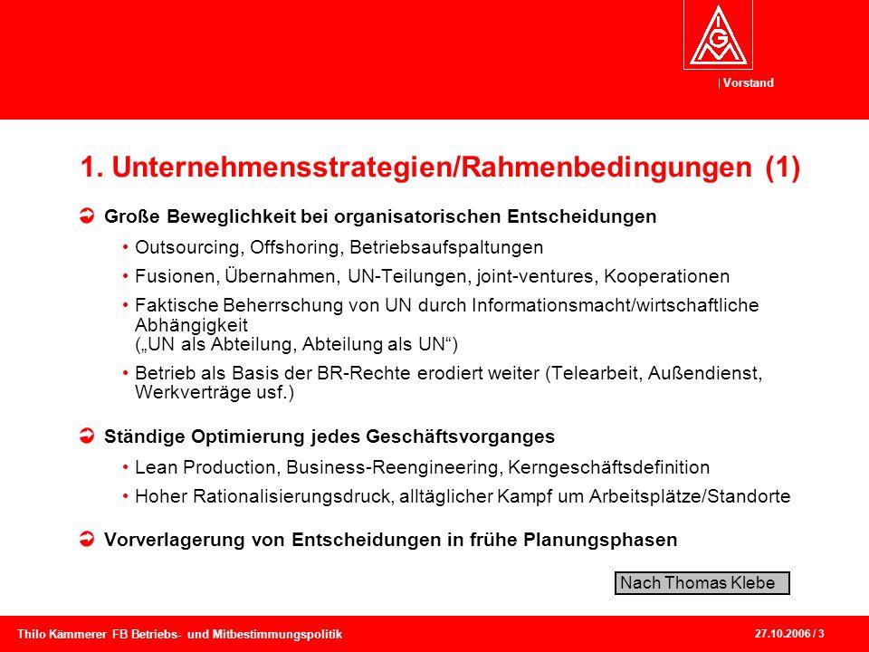 Vorstand 27.10.2006 / 3 Thilo Kämmerer FB Betriebs- und Mitbestimmungspolitik 1. Unternehmensstrategien/Rahmenbedingungen (1) Große Beweglichkeit bei