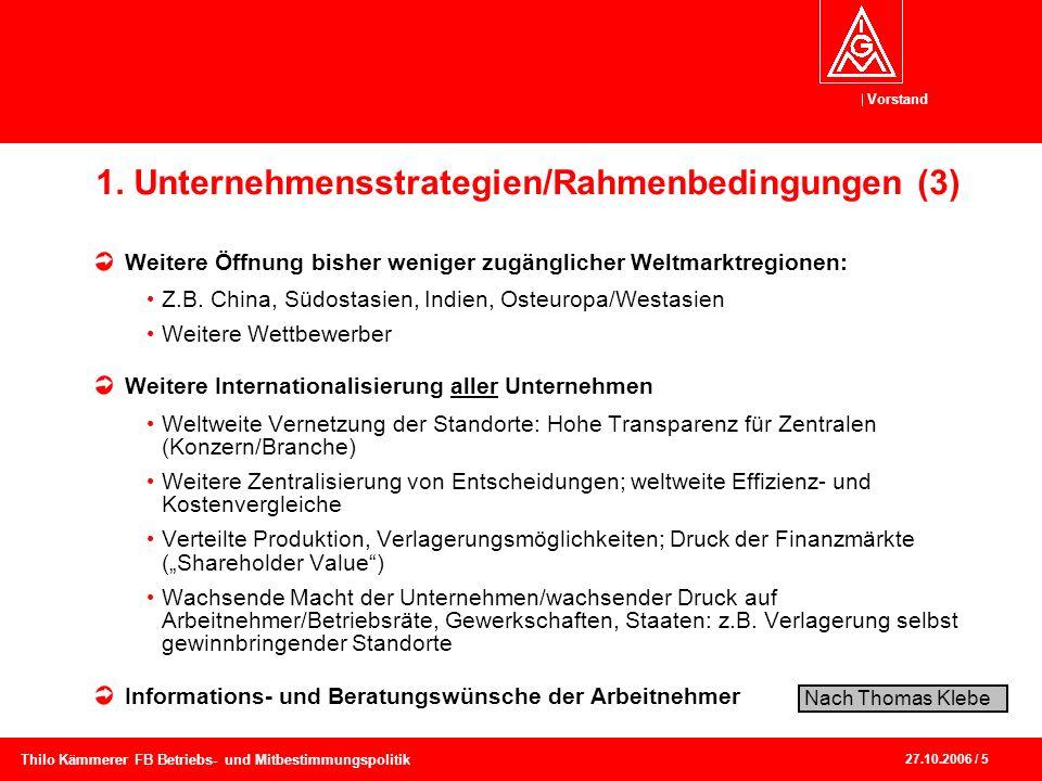 Vorstand 27.10.2006 / 5 Thilo Kämmerer FB Betriebs- und Mitbestimmungspolitik 1. Unternehmensstrategien/Rahmenbedingungen (3) Weitere Öffnung bisher w
