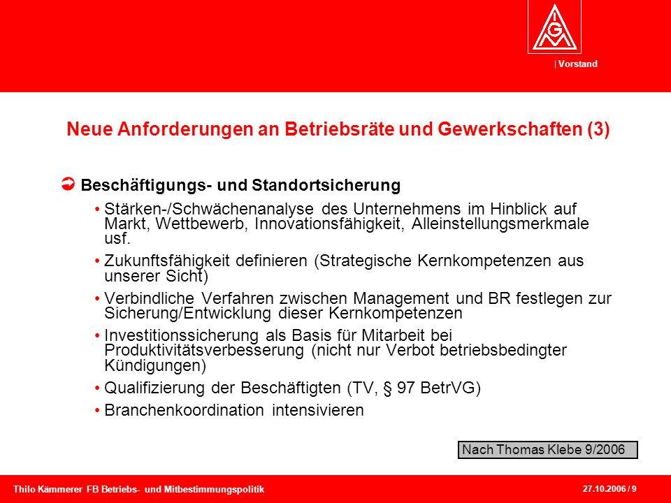 Vorstand 27.10.2006 / 9 Thilo Kämmerer FB Betriebs- und Mitbestimmungspolitik Neue Anforderungen an Betriebsräte und Gewerkschaften (3) Beschäftigungs
