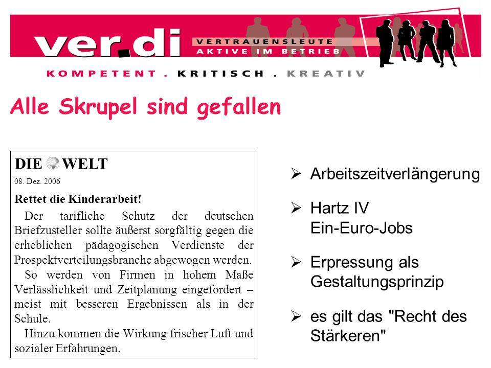 Alle Skrupel sind gefallen 08. Dez. 2006 Rettet die Kinderarbeit! Der tarifliche Schutz der deutschen Briefzusteller sollte äußerst sorgfältig gegen d