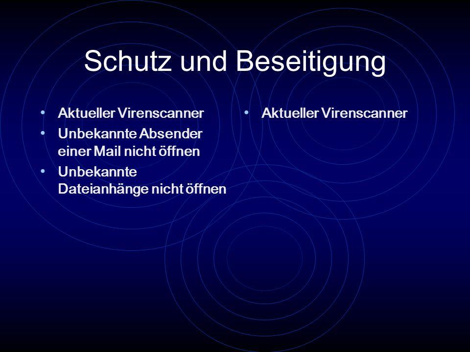 Schutz und Beseitigung Aktueller Virenscanner Unbekannte Absender einer Mail nicht öffnen Unbekannte Dateianhänge nicht öffnen Aktueller Virenscanner