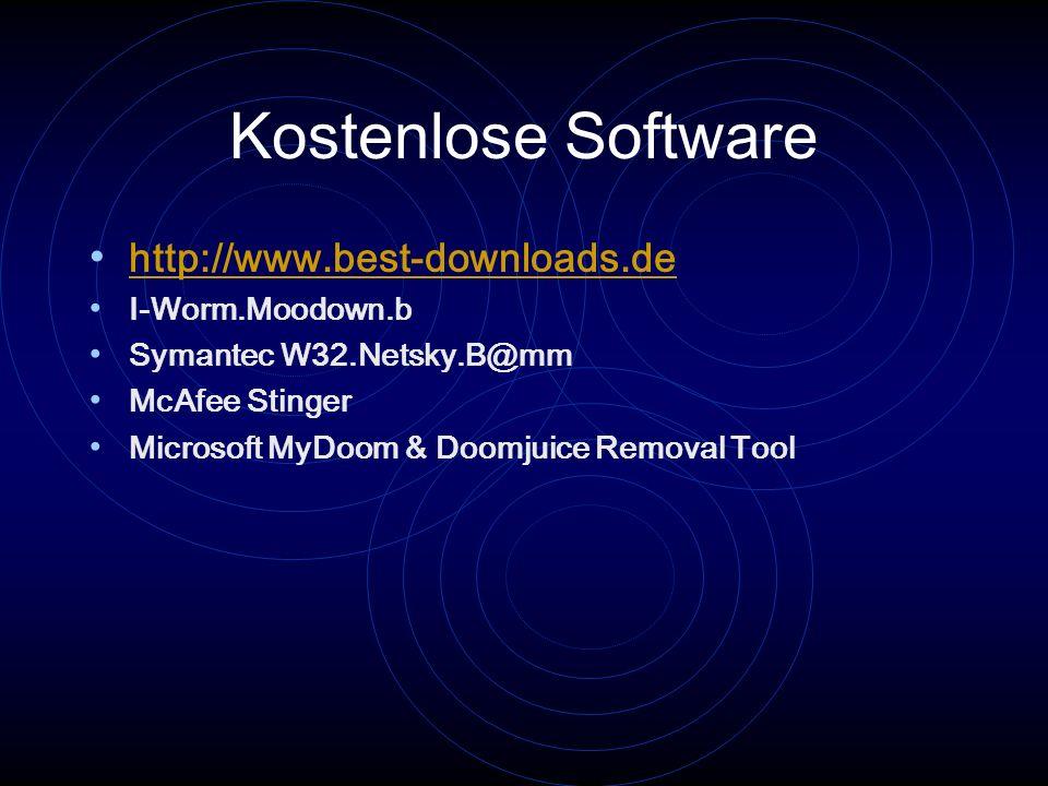 Kostenlose Software http://www.best-downloads.de I-Worm.Moodown.b Symantec W32.Netsky.B@mm McAfee Stinger Microsoft MyDoom & Doomjuice Removal Tool
