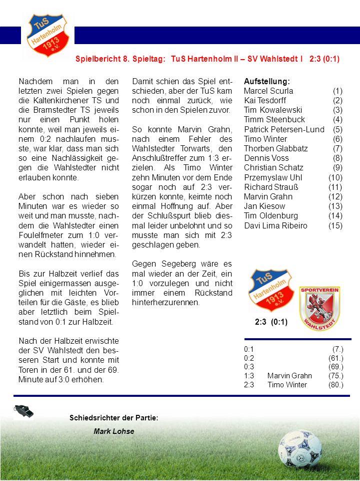 Nachdem man in den letzten zwei Spielen gegen die Kaltenkirchener TS und die Bramstedter TS jeweils nur einen Punkt holen konnte, weil man jeweils ei- nem 0:2 nachlaufen mus- ste, war klar, dass man sich so eine Nachlässigkeit ge- gen die Wahlstedter nicht erlauben konnte.