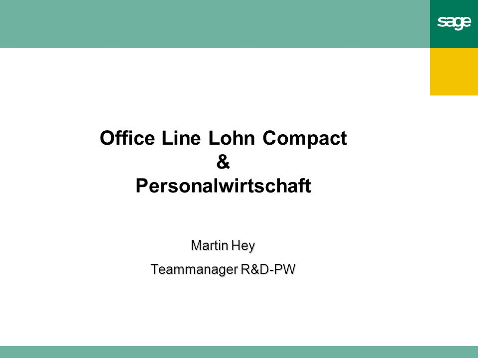 Office Line Lohn Compact & Personalwirtschaft Martin Hey Teammanager R&D-PW