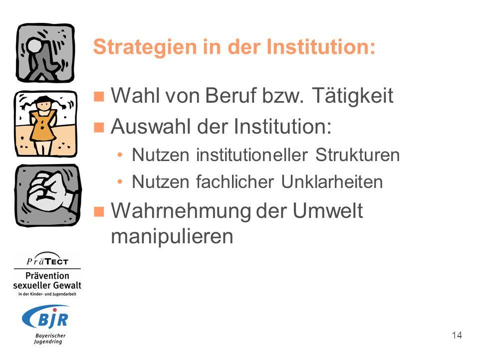 14 Strategien in der Institution: Wahl von Beruf bzw. Tätigkeit Auswahl der Institution: Nutzen institutioneller Strukturen Nutzen fachlicher Unklarhe