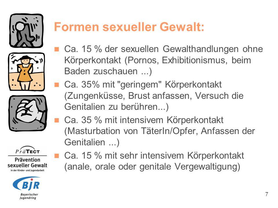 7 Formen sexueller Gewalt: Ca. 15 % der sexuellen Gewalthandlungen ohne K ö rperkontakt (Pornos, Exhibitionismus, beim Baden zuschauen...) Ca. 35% mit