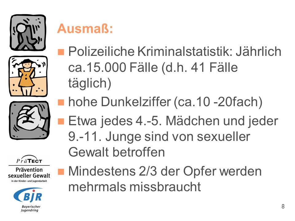 8 Ausmaß: Polizeiliche Kriminalstatistik: Jährlich ca.15.000 Fälle (d.h. 41 Fälle täglich) hohe Dunkelziffer (ca.10 -20fach) Etwa jedes 4.-5. Mädchen