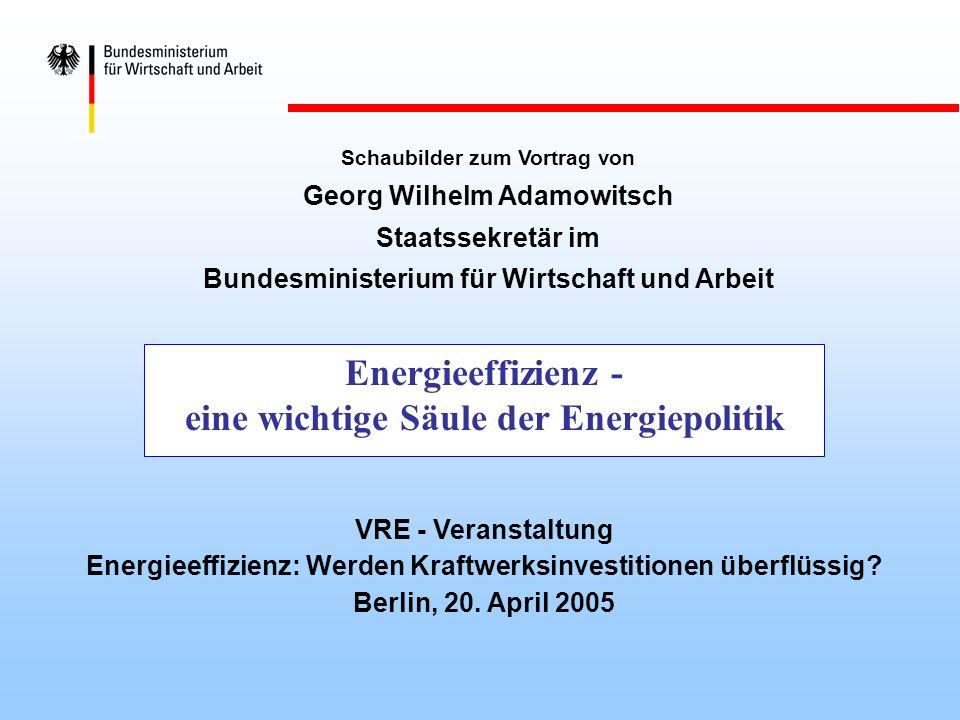 Energieeffizienz - eine wichtige Säule der Energiepolitik Schaubilder zum Vortrag von Georg Wilhelm Adamowitsch Staatssekretär im Bundesministerium fü