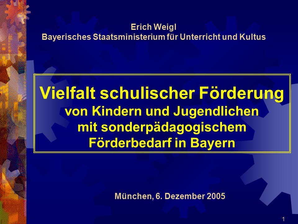 1 Vielfalt schulischer Förderung von Kindern und Jugendlichen mit sonderpädagogischem Förderbedarf in Bayern Erich Weigl Bayerisches Staatsministerium