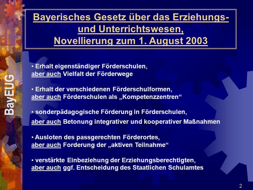 2 Bayerisches Gesetz über das Erziehungs- und Unterrichtswesen, Novellierung zum 1. August 2003 Erhalt eigenständiger Förderschulen, aber auch Vielfal