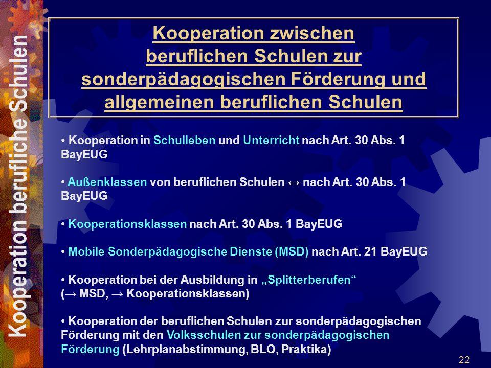 22 Kooperation zwischen beruflichen Schulen zur sonderpädagogischen Förderung und allgemeinen beruflichen Schulen Kooperation in Schulleben und Unterr