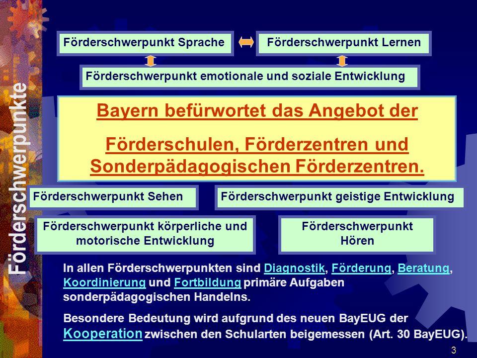 3 Bayern befürwortet das Angebot der Förderschulen, Förderzentren und Sonderpädagogischen Förderzentren. Förderschwerpunkt LernenFörderschwerpunkt Spr