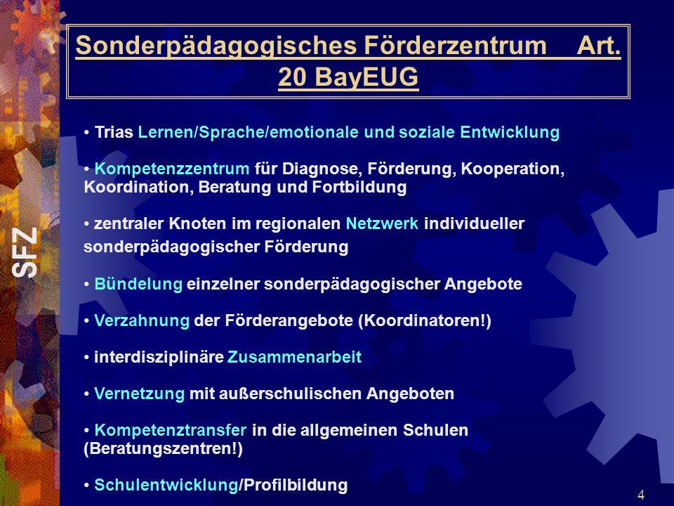 4 Sonderpädagogisches Förderzentrum Art. 20 BayEUG Trias Lernen/Sprache/emotionale und soziale Entwicklung Kompetenzzentrum für Diagnose, Förderung, K