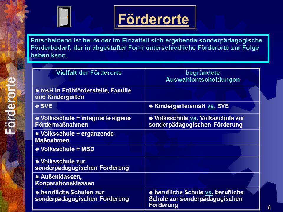 17 Sonderpädagogische Diagnose- und Werkstattklassen Diagnose- und Werkstattklassen Art.