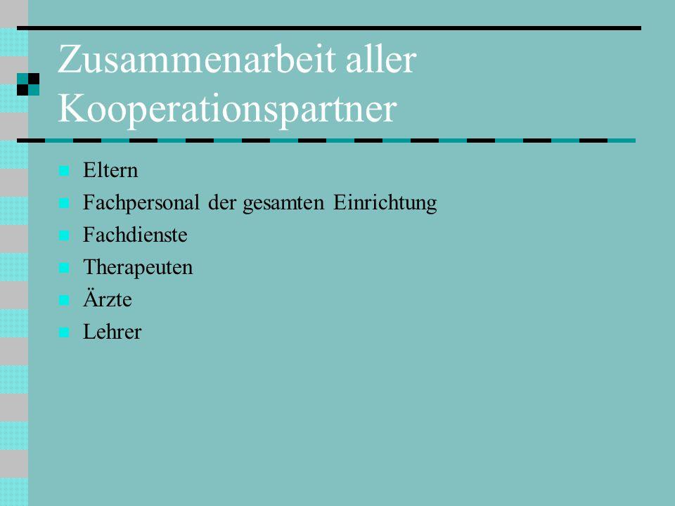 Zusammenarbeit aller Kooperationspartner Eltern Fachpersonal der gesamten Einrichtung Fachdienste Therapeuten Ärzte Lehrer