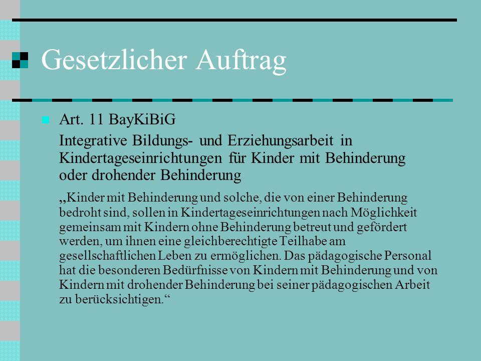 Gesetzlicher Auftrag Art. 11 BayKiBiG Integrative Bildungs- und Erziehungsarbeit in Kindertageseinrichtungen für Kinder mit Behinderung oder drohender