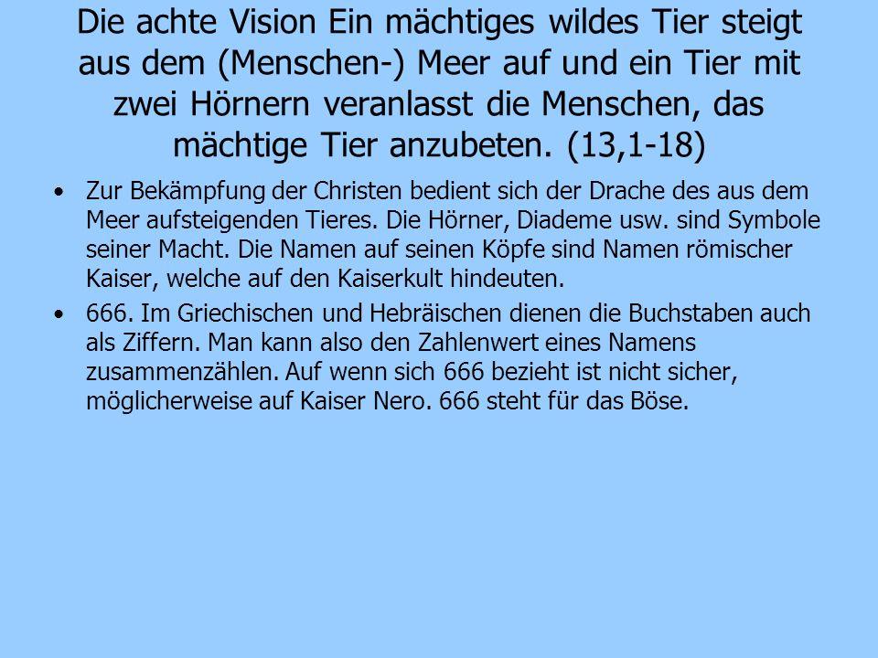 Die achte Vision Ein mächtiges wildes Tier steigt aus dem (Menschen-) Meer auf und ein Tier mit zwei Hörnern veranlasst die Menschen, das mächtige Tie