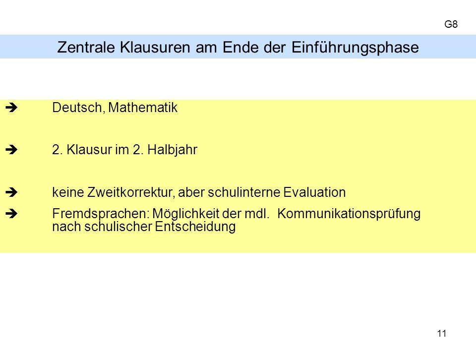 Zentrale Klausuren am Ende der Einführungsphase Deutsch, Mathematik 2.