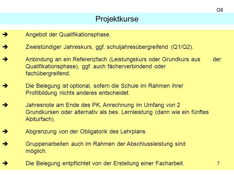 7 Angebot der Qualifikationsphase. Zweistündiger Jahreskurs, ggf.
