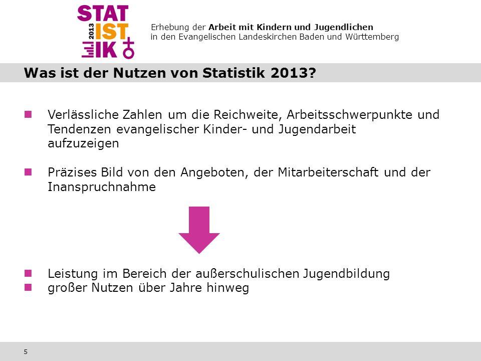 Erhebung der Arbeit mit Kindern und Jugendlichen in den Evangelischen Landeskirchen Baden und Württemberg 5 Was ist der Nutzen von Statistik 2013.