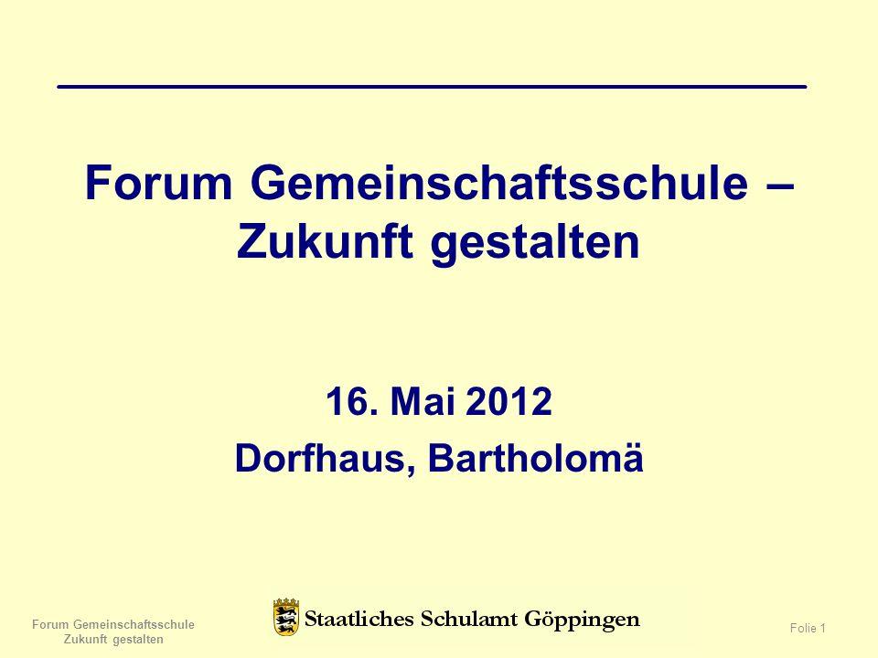 Forum Gemeinschaftsschule – Zukunft gestalten 16.