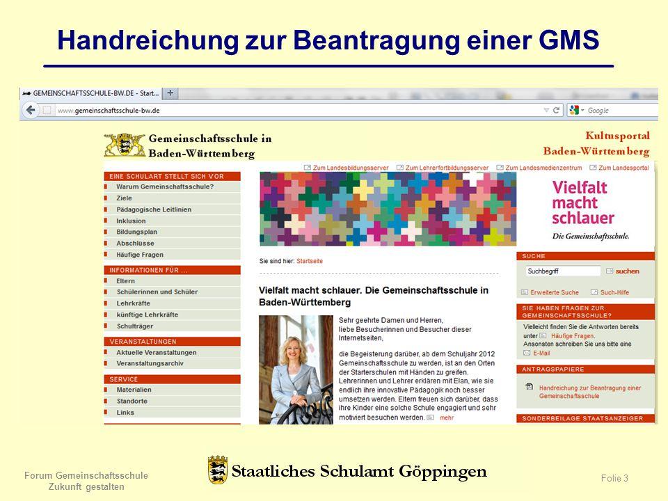 Forum Gemeinschaftsschule Zukunft gestalten Folie 3 Handreichung zur Beantragung einer GMS