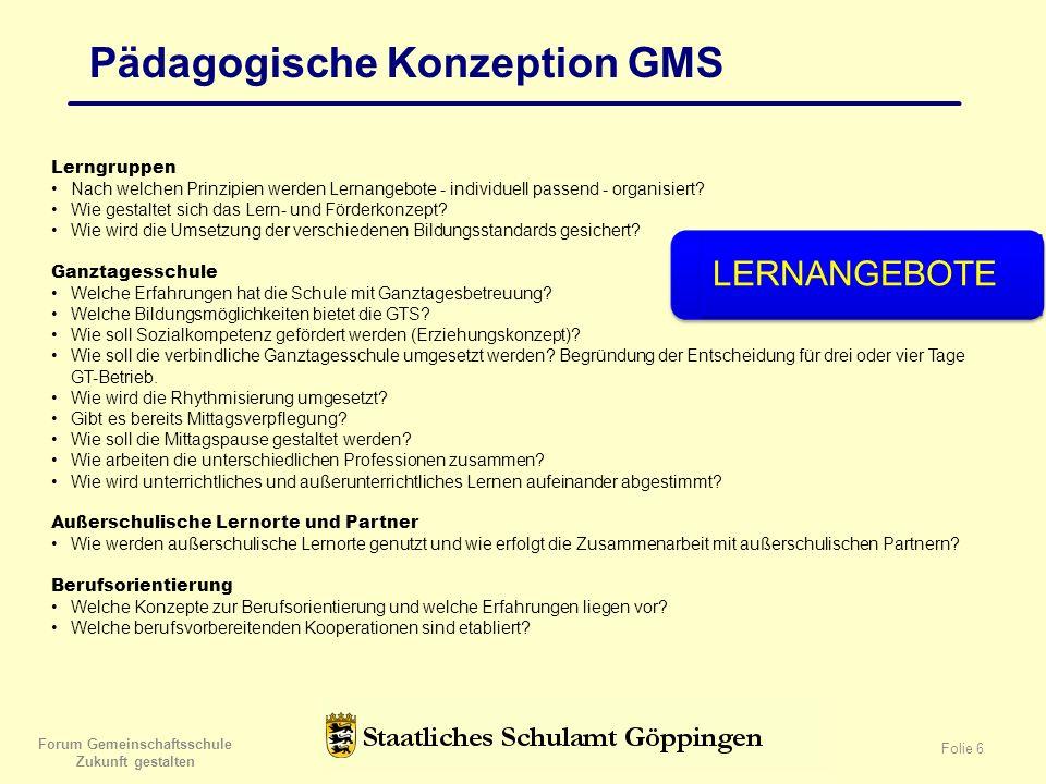 Forum Gemeinschaftsschule Zukunft gestalten Folie 6 Pädagogische Konzeption GMS Lerngruppen Nach welchen Prinzipien werden Lernangebote - individuell passend - organisiert.