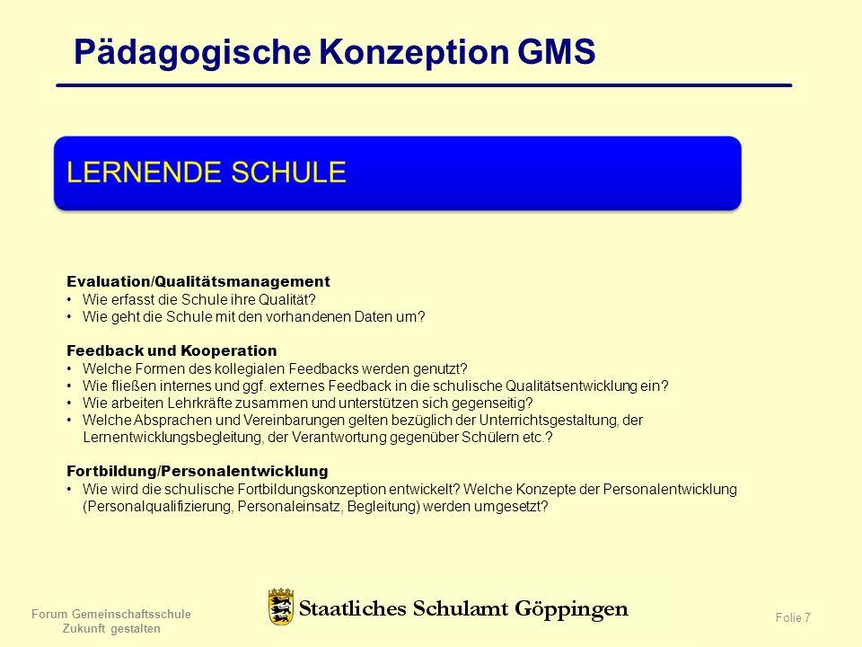 Forum Gemeinschaftsschule Zukunft gestalten Folie 7 Pädagogische Konzeption GMS Evaluation/Qualitätsmanagement Wie erfasst die Schule ihre Qualität.