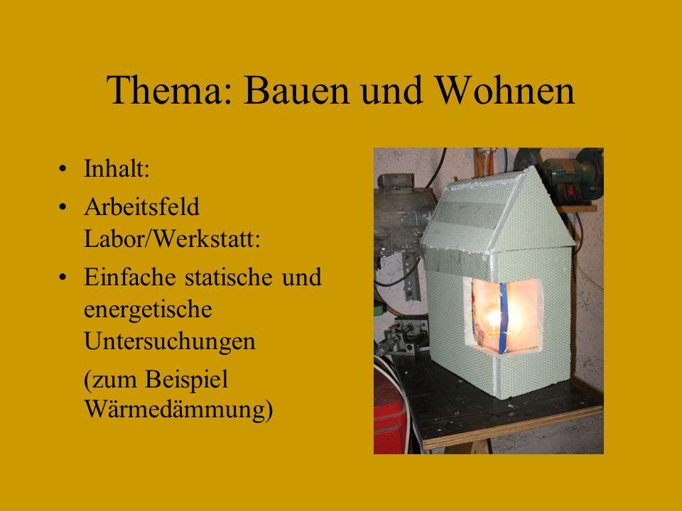 Thema: Bauen und Wohnen Inhalt: Arbeitsfeld Labor/Werkstatt: Einfache statische und energetische Untersuchungen (zum Beispiel Wärmedämmung)