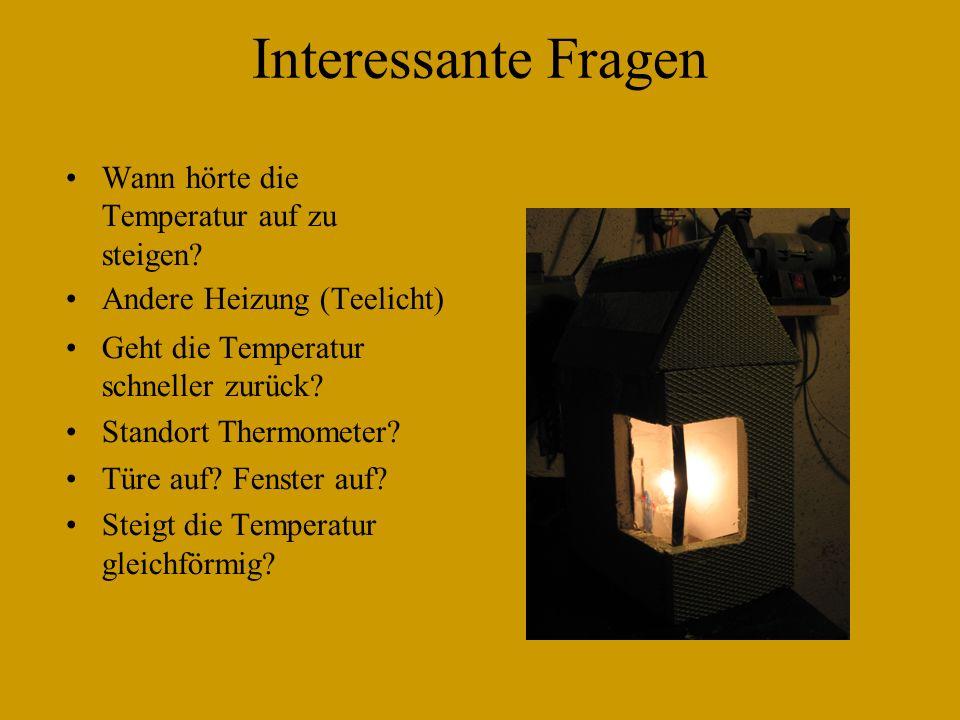 Interessante Fragen Wann hörte die Temperatur auf zu steigen? Andere Heizung (Teelicht) Geht die Temperatur schneller zurück? Standort Thermometer? Tü