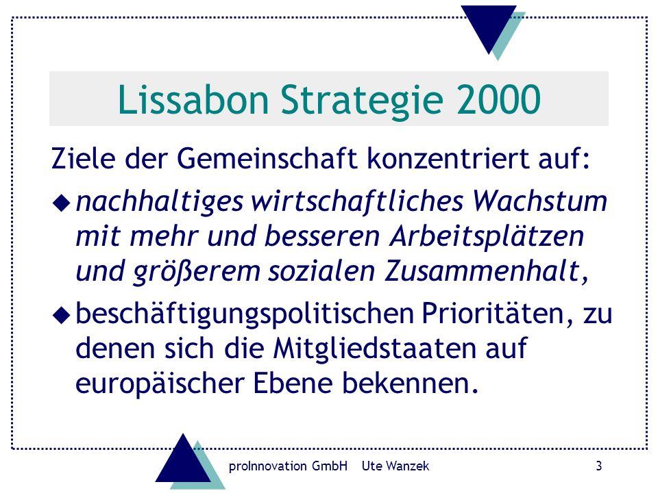 proInnovation GmbH Ute Wanzek3 Lissabon Strategie 2000 Ziele der Gemeinschaft konzentriert auf: u nachhaltiges wirtschaftliches Wachstum mit mehr und besseren Arbeitsplätzen und größerem sozialen Zusammenhalt, u beschäftigungspolitischen Prioritäten, zu denen sich die Mitgliedstaaten auf europäischer Ebene bekennen.