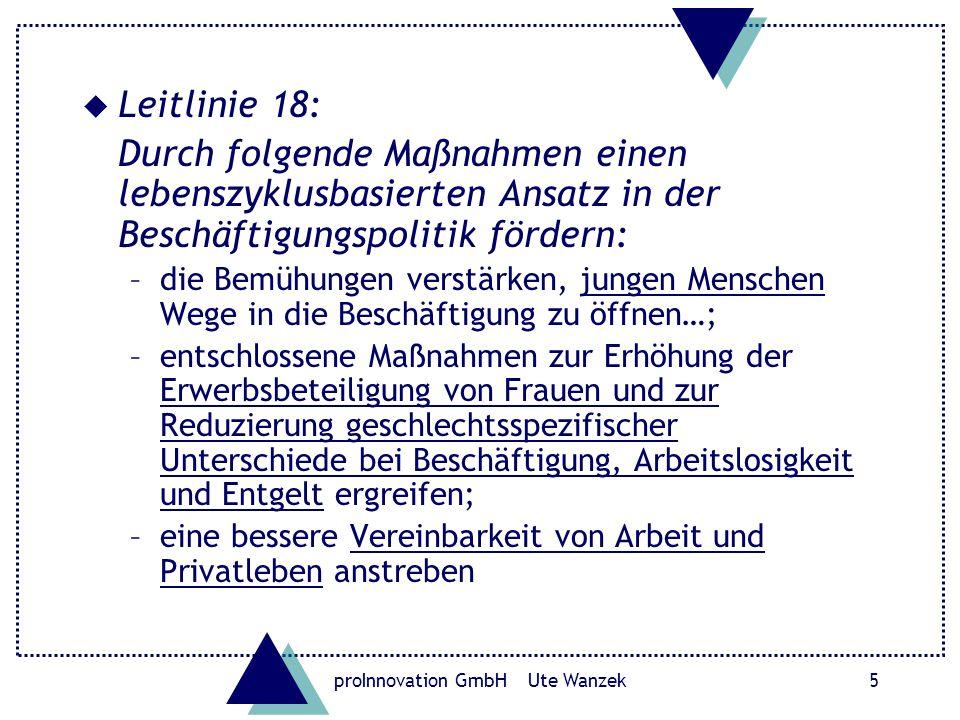 proInnovation GmbH Ute Wanzek6 Leitlinien 21 und 22: u Unter gebührender Berücksichtigung der Rolle der Sozialpartner Flexibilität und Beschäftigungssicherheit in ein ausgewogenes Verhältnis bringen und die Segmentierung der Arbeitsmärkte verringern u Die Entwicklung der Arbeitskosten und die Tarifverhandlungssysteme beschäftigungsfreundlicher gestalten –geschlechtsspezifische Lohngefälle vermeiden; –die beschäftigungspolitischen Auswirkungen der Lohnnebenkosten überprüfen und gegebenenfalls deren Struktur und Niveau anpassen, insbesondere um die steuerliche Belastung der gering entlohnten Arbeit zu senken;