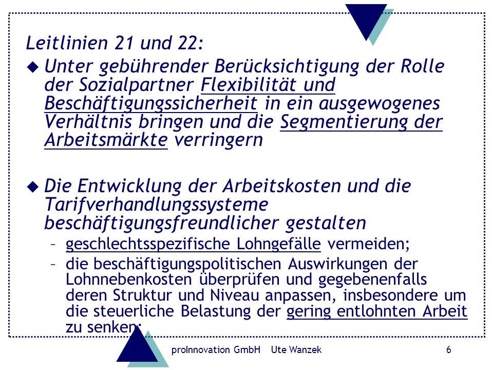 proInnovation GmbH Ute Wanzek7 Europäische Strukturfonds 2007 – 2013 Vorschlag für eine VERORDNUNG DES RATES mit allgemeinen Bestimmungen über den Europäischen Fonds für regionale Entwicklung, den Europäischen Sozialfonds und den Kohäsionsfonds Artikel 14 – Gleichstellung von Männern und Frauen Die Mitgliedstaaten und die Kommission tragen dafür Sorge, dass auf den verschiedenen Stufen der Durchführung der Fondstätigkeiten die Gleichstellung von Männern und Frauen gefördert wird