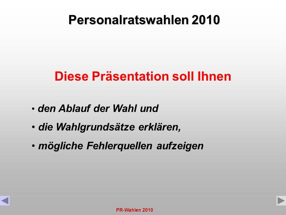 PR-Wahlen 20101 Diese Präsentation soll Ihnen den Ablauf der Wahl und die Wahlgrundsätze erklären, mögliche Fehlerquellen aufzeigen Personalratswahlen