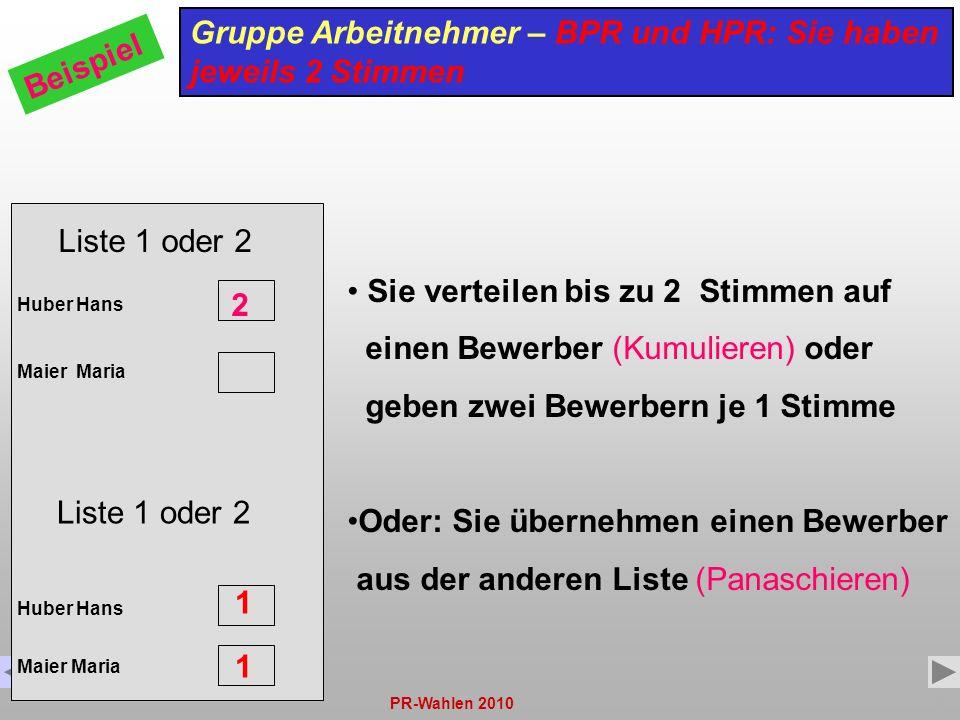 PR-Wahlen 201010 Liste 1 oder 2 Huber Hans Maier Maria Gruppe Arbeitnehmer – BPR und HPR: Sie haben jeweils 2 Stimmen Beispiel Sie verteilen bis zu 2