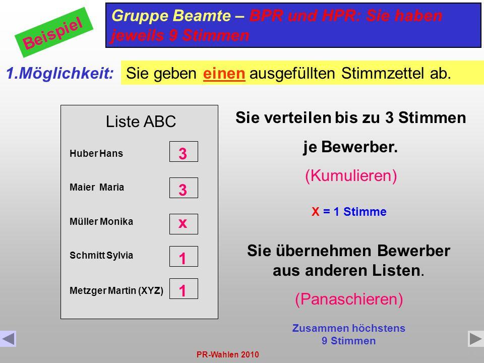 PR-Wahlen 20108 Liste ABC Huber Hans Maier Maria Müller Monika Schmitt Sylvia Gruppe Beamte – BPR und HPR: Sie haben jeweils 9 Stimmen Beispiel 1.Mögl