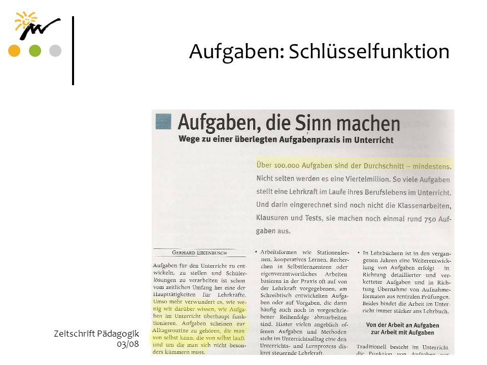 Aufgaben: Schlüsselfunktion Zeitschrift Pädagogik 03/08