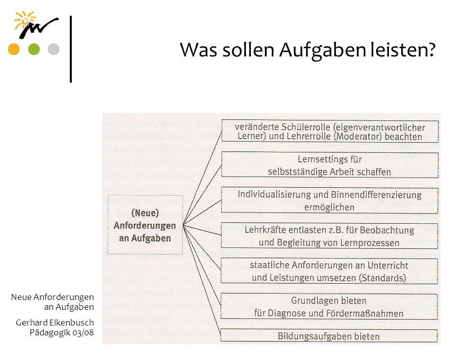 Was sollen Aufgaben leisten? Neue Anforderungen an Aufgaben Gerhard Eikenbusch Pädagogik 03/08