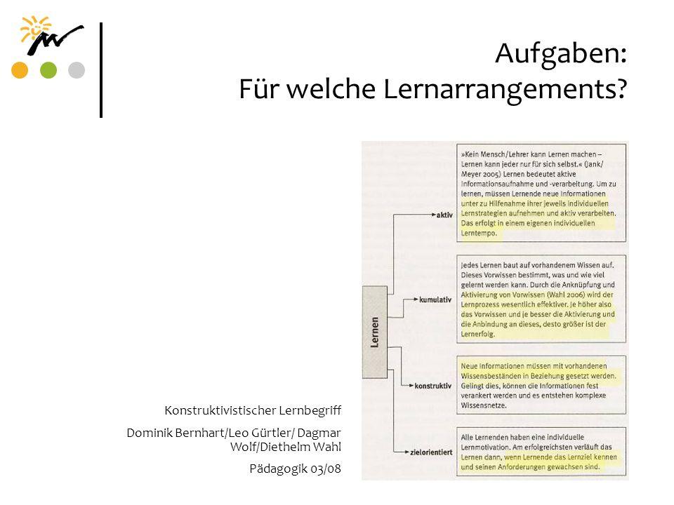 Aufgaben: Für welche Lernarrangements? Konstruktivistischer Lernbegriff Dominik Bernhart/Leo Gürtler/ Dagmar Wolf/Diethelm Wahl Pädagogik 03/08