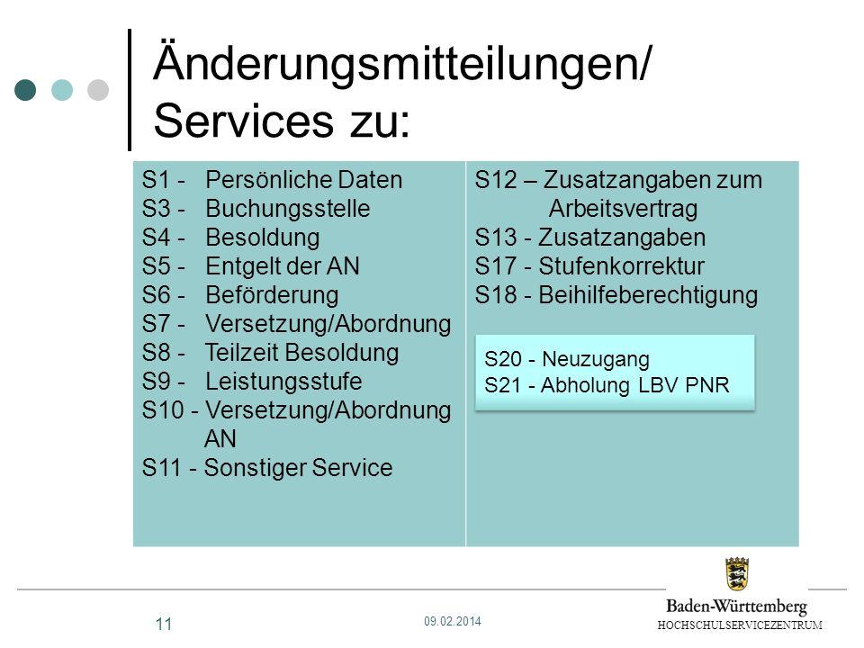 HOCHSCHULSERVICEZENTRUM Änderungsmitteilungen/ Services zu: 11 S1 - Persönliche Daten S3 - Buchungsstelle S4 - Besoldung S5 - Entgelt der AN S6 - Befö