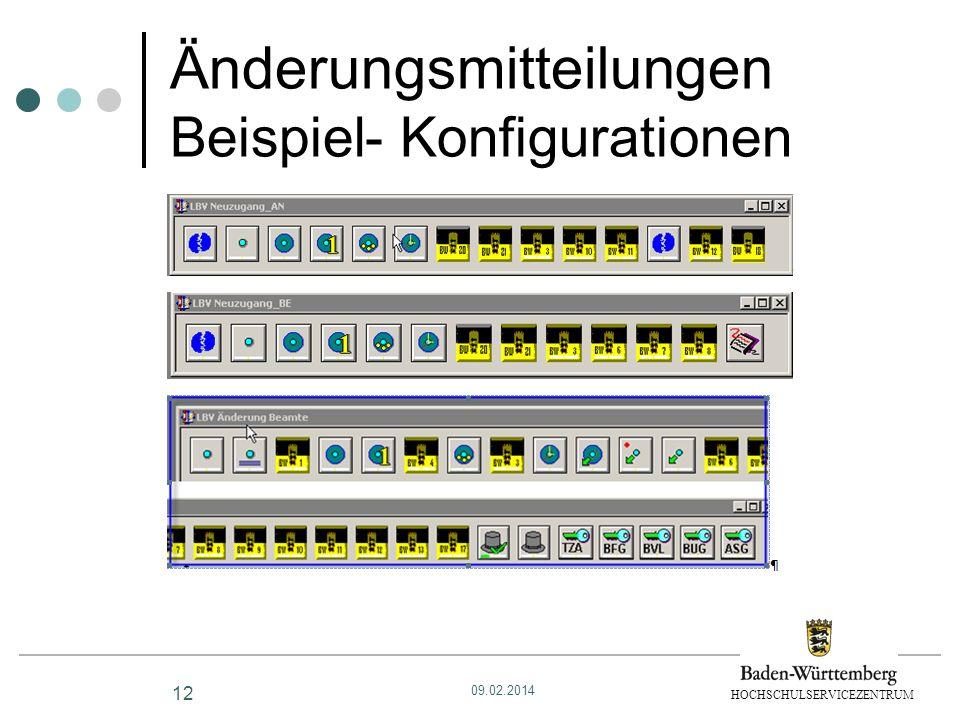 HOCHSCHULSERVICEZENTRUM Änderungsmitteilungen Beispiel- Konfigurationen 12 09.02.2014