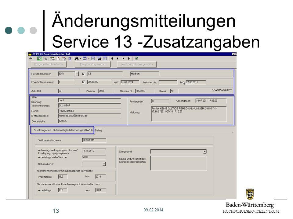 HOCHSCHULSERVICEZENTRUM Änderungsmitteilungen Service 13 -Zusatzangaben 13 09.02.2014