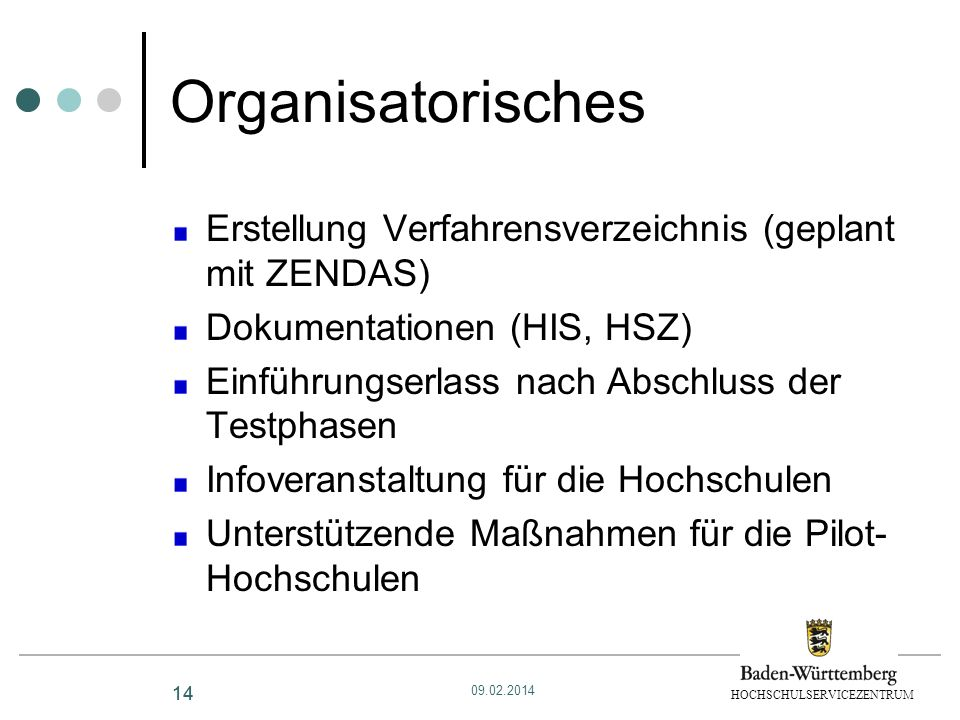 HOCHSCHULSERVICEZENTRUM 14 Organisatorisches Erstellung Verfahrensverzeichnis (geplant mit ZENDAS) Dokumentationen (HIS, HSZ) Einführungserlass nach A