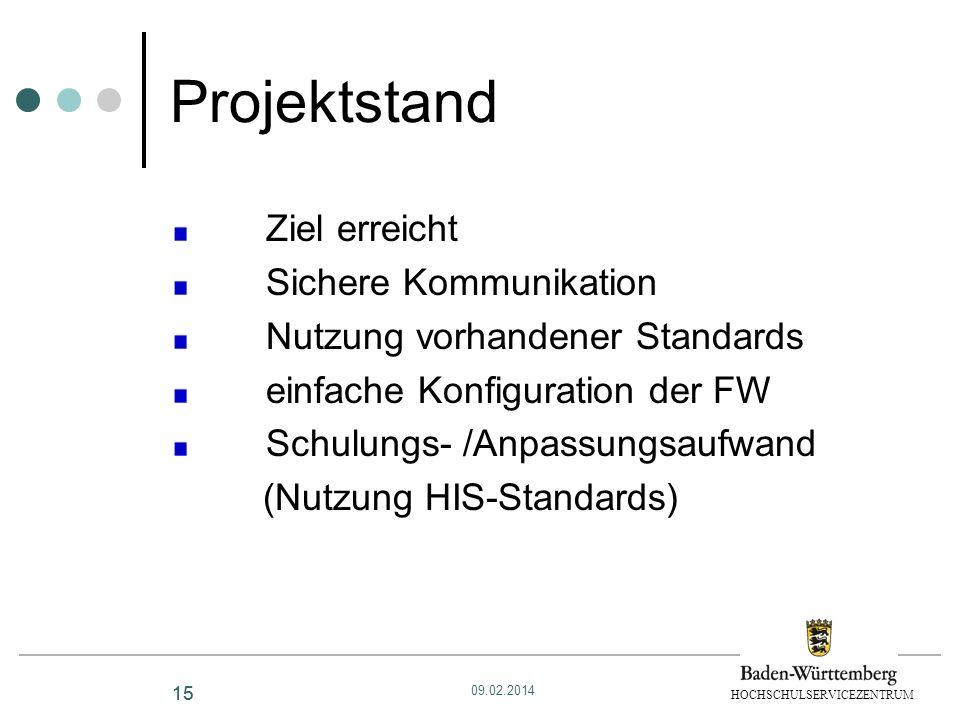 HOCHSCHULSERVICEZENTRUM 15 Projektstand Ziel erreicht Sichere Kommunikation Nutzung vorhandener Standards einfache Konfiguration der FW Schulungs- /An