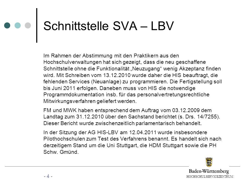 HOCHSCHULSERVICEZENTRUM Schnittstelle SVA – LBV Im Rahmen der Abstimmung mit den Praktikern aus den Hochschulverwaltungen hat sich gezeigt, dass die n